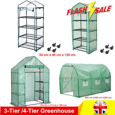 3/4 Tier Walk In Greenhouse PVC Plastic Garden Plant Grow Green House with Cove