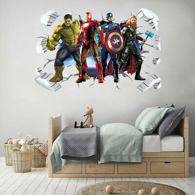 Super Hero Avenger 3D Wall Sticker Boys Kids Playroom Cartoon Wall Decal Removal