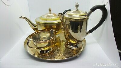 SHEFFIELD silver plate tea set by CAVALIER tray PLATED ON BRASS AND COPPER