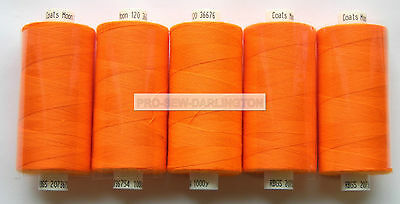 5 REELS NEON ORANGE MOON POLYESTER SEWING THREAD COTTON 120s