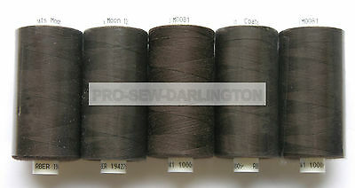 5 x REELS DARK BROWN MOON POLYESTER SEWING THREAD COTTON 120s ( 081 )