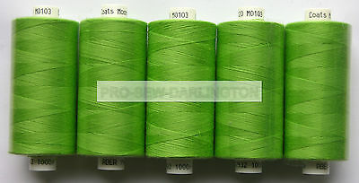 5 x REELS APPLE GREEN MOON POLYESTER SEWING THREADS COTTON 120s ( 103 )