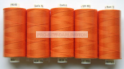 5 X REELS ORANGE MOON POLYESTER SEWING THREAD COTTON 120s ( 205 )