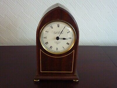 Lovely Knight Gibbins Mantel Clock. Quartz Movement. Mahogany Case.