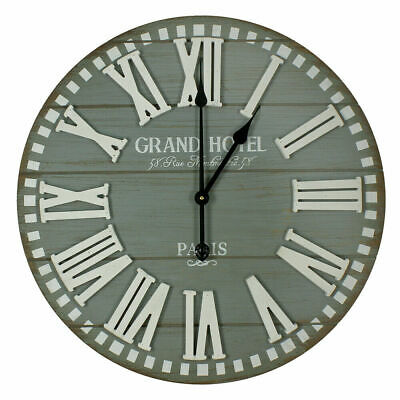 Large Hometime Grand Hotel Round Wooden Wall Clock - Grey Home Deco
