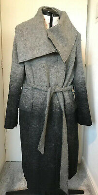 Marks & Spencer Autograph grey wool belted coat: size 18: smart, casual, warm