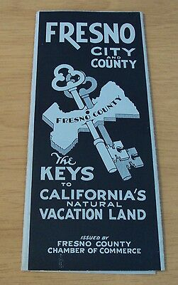 "1935 Map~""The KEYS to CALIFORNIA'S Natural VACATION LAND"" Fresno City/County~"