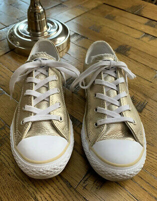 Converse All Star Kids Childrens Girls Sneakers Shoes Gold Size EU 33 UK 1