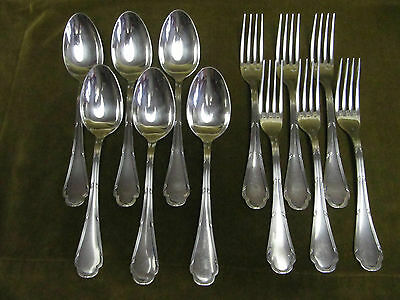 6 Cutlery Table Metal Silver Ercuis Trianon (Dinner Forks, Soup Spoons) C
