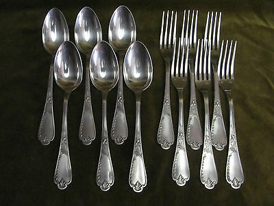 6 Cutlery Table Metal Silver Ercuis Iris 1900 (Dinner Forks, Soup Spoons)