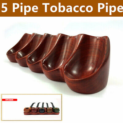 Tobacco Pipe Display Rack Rose Wooden Smoking Pipe Shelf for 5 Pipe Tobacco Pipe