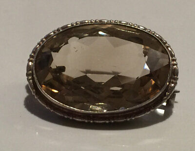 Superb Antique Art Deco Facet Cut Citrine And Silver Brooch Pin