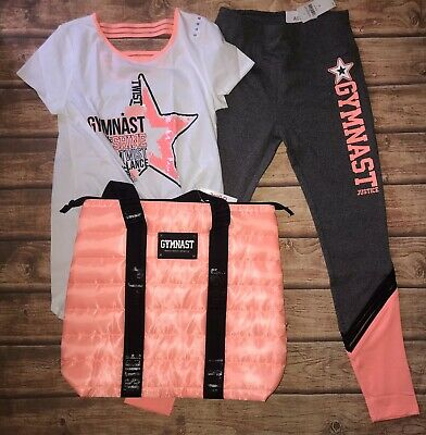 NWT Justice Girls Gymnast Active Outfit Set Size 12 With Gymnast Bag