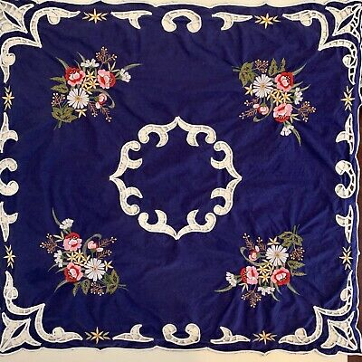 Vintage Tablecloth Small Blue Square Embroidery Cutwork Display Feature Runner
