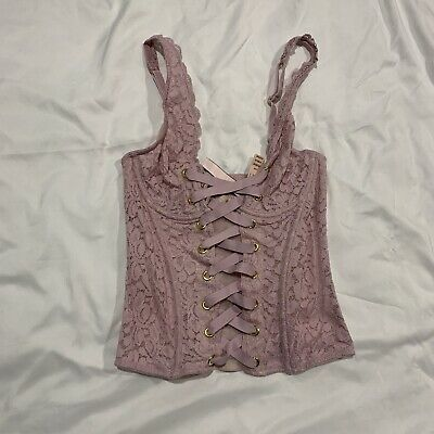 Victoria Secret Long Line Lace Bra Wired Front Strappy Sheer 34B New With Tags