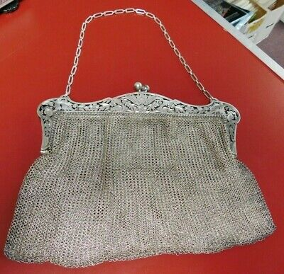 Sterling Silver 2 Compartment Mesh Purse ~ Gorgeous Floral Frame ~ Phila. PA