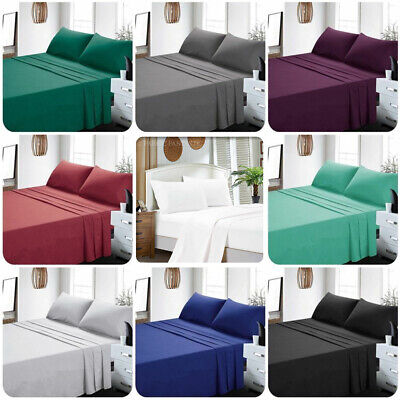 Ultra SOFT 3/4pcs FLAT & FITTED Bed Sheet Set Pillowcases Double/Queen/King Size