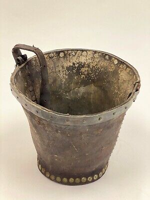 Rare 19th/18th Century Antique Leather Fire Bucket With Copper Rivets