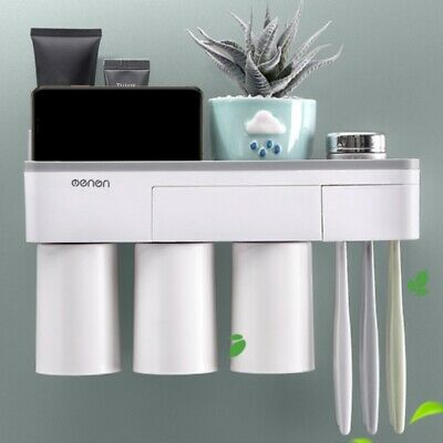 Home Wall Mount Toothpaste Toothbrush Holder Magnetic Cup Bathroom Storage Rack