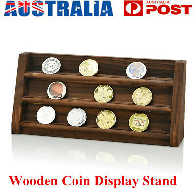 Wooden Challenge Coins Box Collectible Holder Display Stand Storage Case Capsule