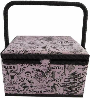 Medium Craft Padded Sewing Box With Handle & Compartment - Sewing Words