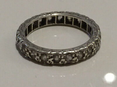 Superb Antique Art Deco Silver And Spinel Engraved Full Eternity Ring N1/2