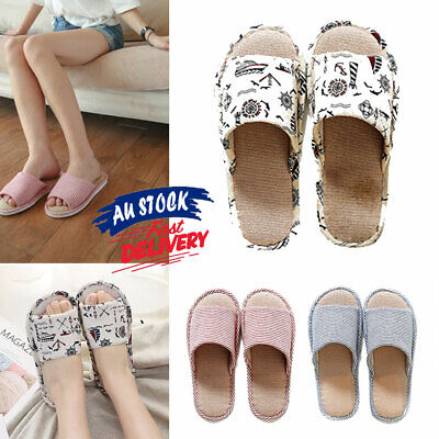 Warm Shoes Slippers Home Soft Indoor Floor Non-slip House Couple Linen Floral
