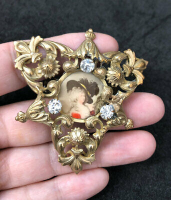 Superb Antique 19Th Century Victorian Gilt Metal Repousse Portrait Brooch