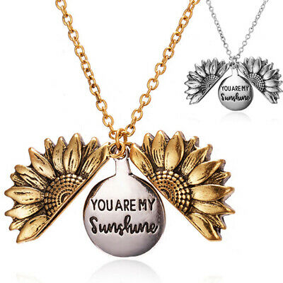 You Are My Sunshine Open Locket Sunflower Pendant Necklace Fashion Jewelry L VX