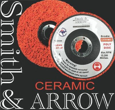 "CERAMIC STRIP DISC 125mm 5"" WHEEL POLY PAINT RUST REMOVAL CLEAN ANGLE GRINDER"