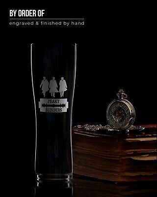 Pint Glass Engraved With Peaky Blinders Razor & Three Shelby Brothers | Gift Box