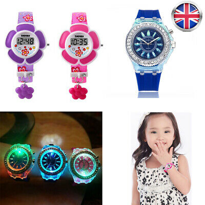 Kids Boy Girls Digital Sport LED Watch Wrist Watches Flash Backlit Quartz UK