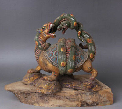 Chinese antiques Tang Sancai Painted pottery Dragon Turtle and Green Snake