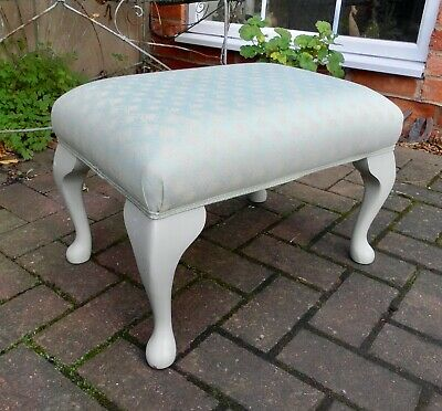 Lovely Pale Aqua Rectangular Footstool~Painted Wooden Cabriole Supports