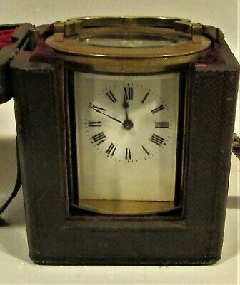 French Gilt Brass Oval Carriage Clock With Original Case and Key 1900's