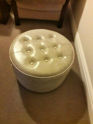 Original retro 70s vintage Sherborne Foot Stool Pouffe Beige Vinyl/Faux Leather