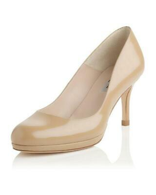 LK Bennett SYBILA Beige Taupe Patent Leather 6.5 39 1/2 39.5 Courts Shoes FAB!!!