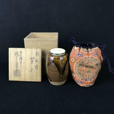 Tea Caddy Ceremony Chaire Zeze-yaki Sado Japanese Traditional Crafts t637