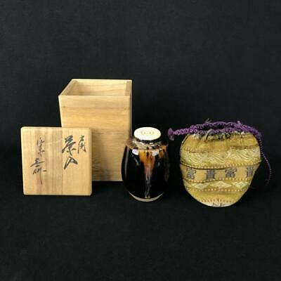 Tea Caddy Ceremony Chaire Kyo-yaki Sado Japanese Traditional Crafts t638