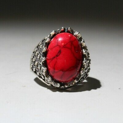 Unusual Collectable China Handwork Miao Silver Mosaic Agate Beautiful Noble Ring