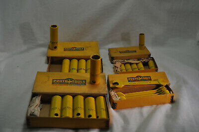 Vintage Proto Safety 6x9/16,6x11/16,6x13/16 deepwell sockets 6x9/16,1/2 wrenches