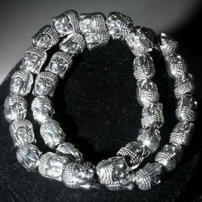 Collectable China Handwork Old Miao Silver Carve Buddha Head Noble Hand Catenary