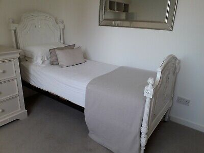 Beautiful Antique White Painted Bed, Shabby Chic Style includes mattress.