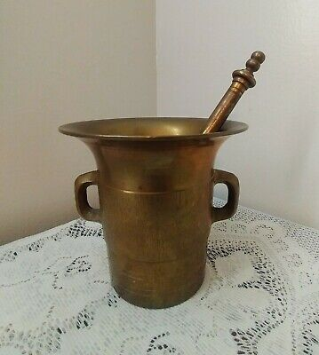 Vintage Solid Brass Large Mortar & Pestle Apothecary Pharmacy Heavy