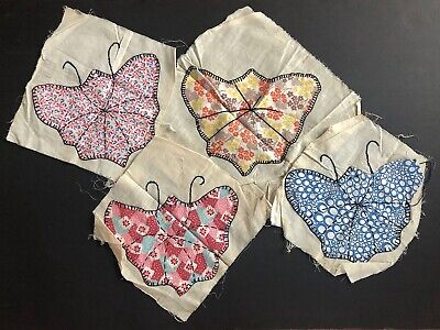 Butterfly Quilt Block Lot VINTAGE Fabric Flour Sack Quilt Embroidered Appliques