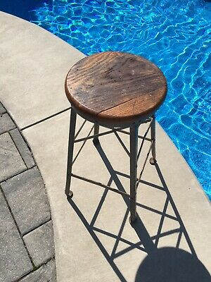 "Nice Vintage Industrial 26"" Metal Drafting Factory Stool Steampunk w/ Rivets"