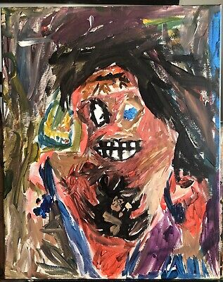 "Beautiful Abstract Original Canvas Painting, ""Smiling In The Face Of Evil"""