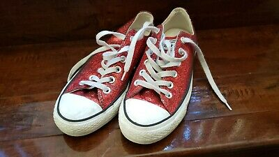 Converse All Star Red Glitter Shoes 136085F Size 7 Woman