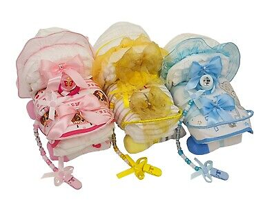 Baby Nappy cake basket/hamper New Born, Maternity Leave, Shower, Christening gif