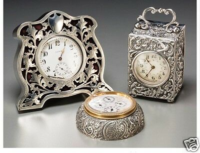 A049 Three English and American Silver Desk Clocks, first quarter 20th century